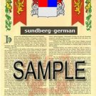 SUNDBERG - GERMAN - Armorial Name History - Coat of Arms - Family Crest GIFT! 8.5x11