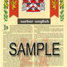 SURBER - ENGLISH - Armorial Name History - Coat of Arms - Family Crest GIFT! 8.5x11