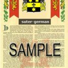 SUTER - GERMAN - Armorial Name History - Coat of Arms - Family Crest GIFT! 8.5x11