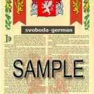 SVOBODA - GERMAN - Armorial Name History - Coat of Arms - Family Crest GIFT! 8.5x11