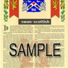 SWAN - SCOTTISH - Armorial Name History - Coat of Arms - Family Crest GIFT! 8.5x11