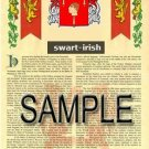 SWART - IRISH - Armorial Name History - Coat of Arms - Family Crest GIFT! 8.5x11
