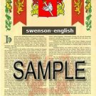 SWENSON - ENGLISH - Armorial Name History - Coat of Arms - Family Crest GIFT! 8.5x11