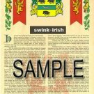 SWINK - IRISH - Armorial Name History - Coat of Arms - Family Crest GIFT! 8.5x11