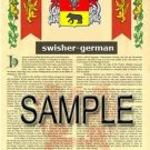 SWISHER - GERMAN - Armorial Name History - Coat of Arms - Family Crest GIFT! 8.5x11