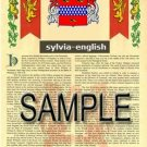 SYLVIA - ENGLISH - Armorial Name History - Coat of Arms - Family Crest GIFT! 8.5x11