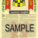 SYMONS - ENGLISH - Armorial Name History - Coat of Arms - Family Crest GIFT! 8.5x11