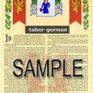TABER - GERMAN - Armorial Name History - Coat of Arms - Family Crest GIFT! 8.5x11