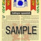 TAFOYA - SPANISH - Armorial Name History - Coat of Arms - Family Crest GIFT! 8.5x11