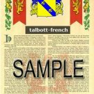 TALBOTT - FRENCH - Armorial Name History - Coat of Arms - Family Crest GIFT! 8.5x11