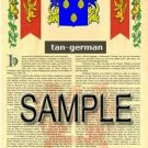 TAN - GERMAN - Armorial Name History - Coat of Arms - Family Crest GIFT! 8.5x11