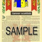 TARVER - SCOTTISH - Armorial Name History - Coat of Arms - Family Crest GIFT! 8.5x11