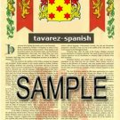 TAVAREZ - SPANISH - Armorial Name History - Coat of Arms - Family Crest GIFT! 8.5x11