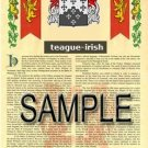 TEAGUE - IRISH - Armorial Name History - Coat of Arms - Family Crest GIFT! 8.5x11