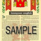 TENNYSON - ENGLISH - Armorial Name History - Coat of Arms - Family Crest GIFT! 8.5x11