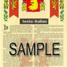 TESTA - ITALIAN - Armorial Name History - Coat of Arms - Family Crest GIFT! 8.5x11
