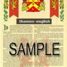 THAMES - ENGLISH - Armorial Name History - Coat of Arms - Family Crest GIFT! 8.5x11