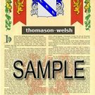 THOMASON - WELSH - Armorial Name History - Coat of Arms - Family Crest GIFT! 8.5x11