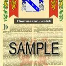 THOMASSON - WELSH - Armorial Name History - Coat of Arms - Family Crest GIFT! 8.5x11