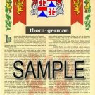 THORN - GERMAN - Armorial Name History - Coat of Arms - Family Crest GIFT! 8.5x11