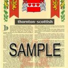 THORNTON - SCOTTISH - Armorial Name History - Coat of Arms - Family Crest GIFT! 8.5x11
