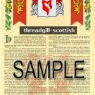 THREADGILL - SCOTTISH - Armorial Name History - Coat of Arms - Family Crest GIFT! 8.5x11