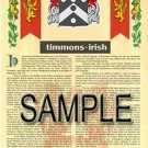 TIMMONS - IRISH - Armorial Name History - Coat of Arms - Family Crest GIFT! 8.5x11