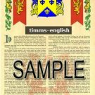 TIMMS - ENGLISH - Armorial Name History - Coat of Arms - Family Crest GIFT! 8.5x11