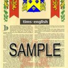 TIMS - ENGLISH - Armorial Name History - Coat of Arms - Family Crest GIFT! 8.5x11