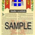 TINDLE - SCOTTISH - Armorial Name History - Coat of Arms - Family Crest GIFT! 8.5x11