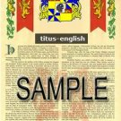 TITUS - ENGLISH - Armorial Name History - Coat of Arms - Family Crest GIFT! 8.5x11