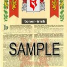 TONER - IRISH - Armorial Name History - Coat of Arms - Family Crest GIFT! 8.5x11