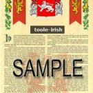 TOOLE - IRISH - Armorial Name History - Coat of Arms - Family Crest GIFT! 8.5x11