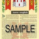 TORRE - ENGLISH - Armorial Name History - Coat of Arms - Family Crest GIFT! 8.5x11