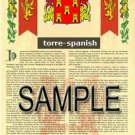 TORRE - SPANISH - Armorial Name History - Coat of Arms - Family Crest GIFT! 8.5x11