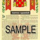 TORRES - SPANISH - Armorial Name History - Coat of Arms - Family Crest GIFT! 8.5x11