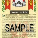 TOWNS - SCOTTISH - Armorial Name History - Coat of Arms - Family Crest GIFT! 8.5x11