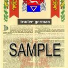 TRADER - GERMAN - Armorial Name History - Coat of Arms - Family Crest GIFT! 8.5x11