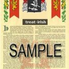TREAT - IRISH - Armorial Name History - Coat of Arms - Family Crest GIFT! 8.5x11