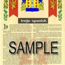 TREJO - SPANISH - Armorial Name History - Coat of Arms - Family Crest GIFT! 8.5x11