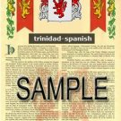 TRINIDAD - SPANISH - Armorial Name History - Coat of Arms - Family Crest GIFT! 8.5x11