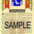 TROST - GERMAN - Armorial Name History - Coat of Arms - Family Crest GIFT! 8.5x11