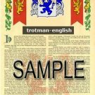 TROTMAN - ENGLISH - Armorial Name History - Coat of Arms - Family Crest GIFT! 8.5x11