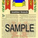 TROTTIER - FRENCH - Armorial Name History - Coat of Arms - Family Crest GIFT! 8.5x11