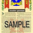 TROXLER - GERMAN - Armorial Name History - Coat of Arms - Family Crest GIFT! 8.5x11