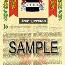 TRUE - GERMAN - Armorial Name History - Coat of Arms - Family Crest GIFT! 8.5x11