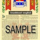 TRUEBLOOD - ENGLISH - Armorial Name History - Coat of Arms - Family Crest GIFT! 8.5x11