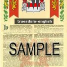 TRUESDALE - ENGLISH - Armorial Name History - Coat of Arms - Family Crest GIFT! 8.5x11
