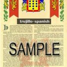 TRUJILLO - SPANISH - Armorial Name History - Coat of Arms - Family Crest GIFT! 8.5x11