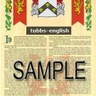 TUBBS - ENGLISH - Armorial Name History - Coat of Arms - Family Crest GIFT! 8.5x11